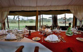 Table Meal Setup at Lemala Ndutu Camp